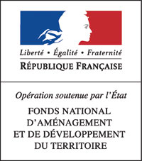 Logo de l'état Français avec Marianne en blanc dans des fonds bleu et rouge