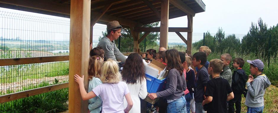 Des enfants acompagnés d\'un adulte découvrent le site de l\'Observatoire géré par la Maison du Sel