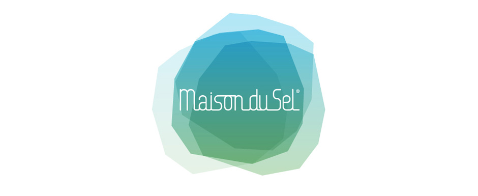 Logo de la Maison du Sel, un bloc de sel gemme dans les tons bleus et verts.