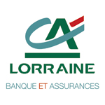 Logo du Crédit Agricole de Lorraine, CA imbriqué en vert et bleu avec un trait rouge
