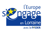 logo du FEDER FOnds européen de développement régional, bleu et blanc avec des étoiles jaunes